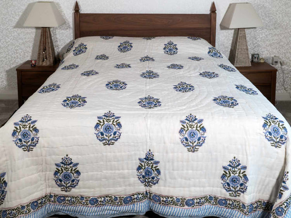 Blue Chrysanthemum Printed Indian Quilt Bedspread reverse