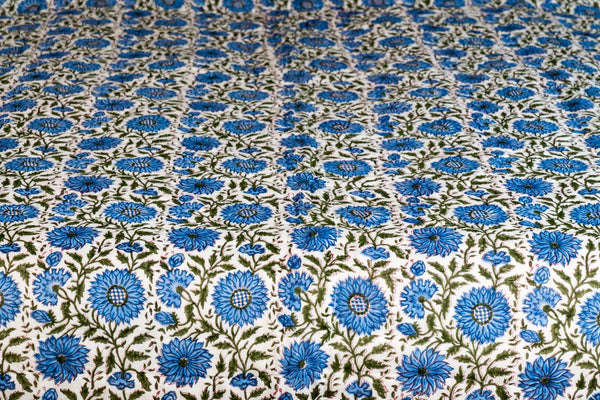 Blue Chrysanthemum Printed Indian Quilt Bedspread