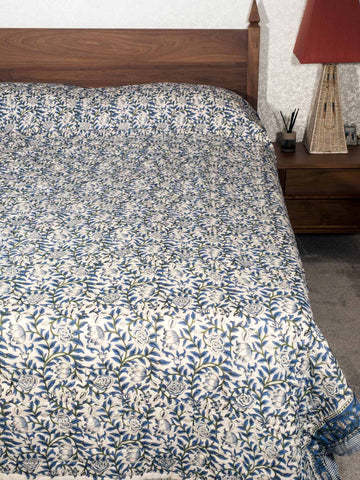Blue Leaves, Green Trees, Indian Quilt Bedspread