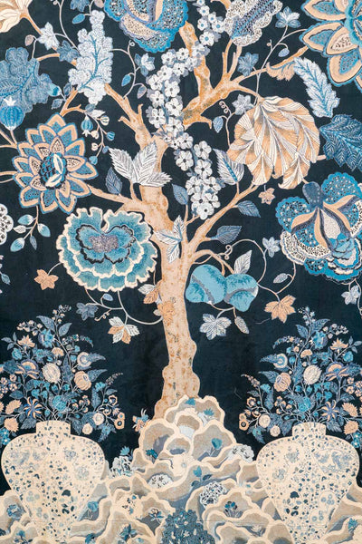 Blue Tree of Life Curtain  detail