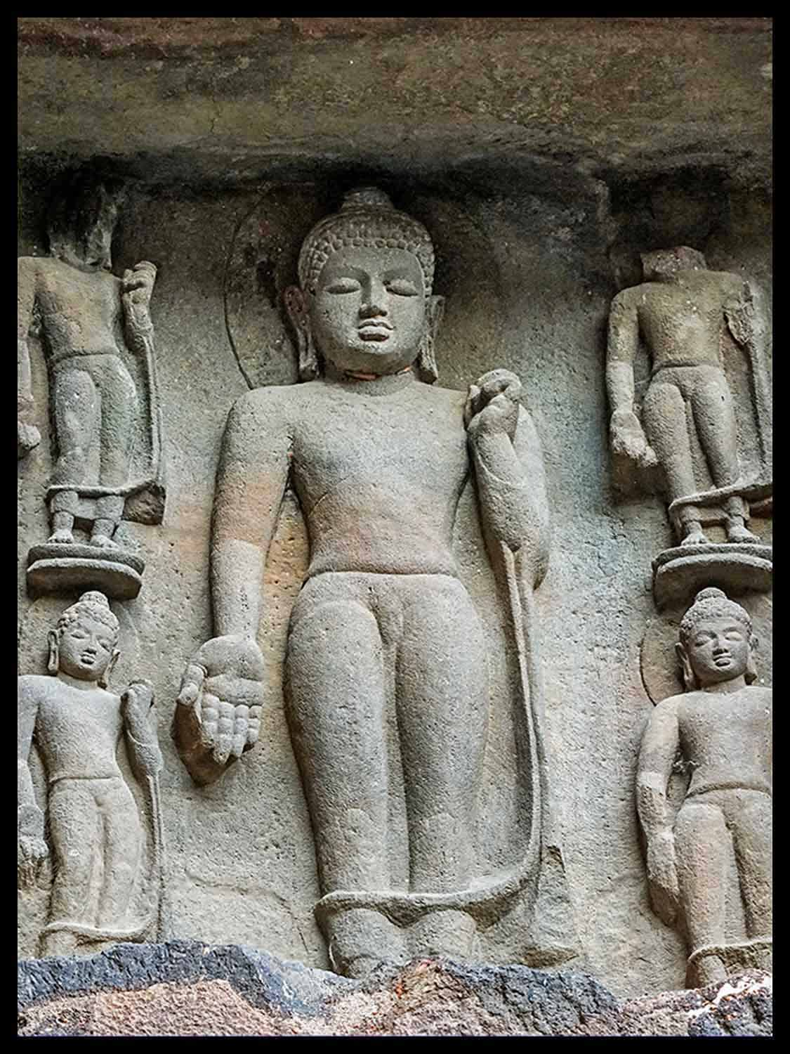 Five standing Buddhas, entrance to cave 19, Ajanta