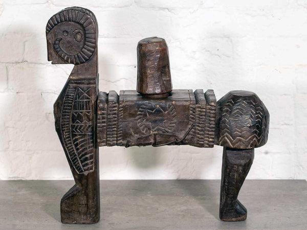 Vintage Carved Wooden Juicer from Himachal Pradesh