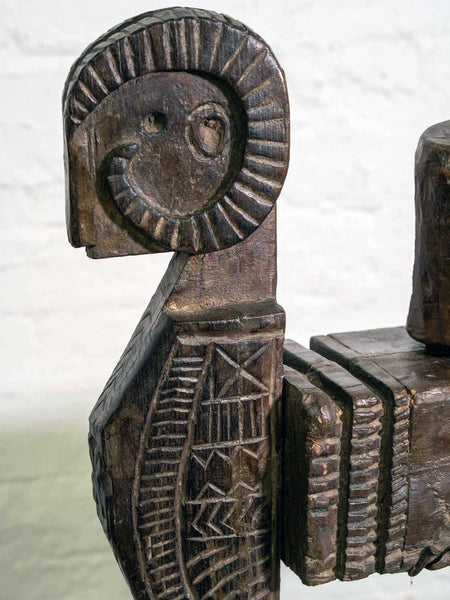 Vintage Carved Wooden Juicer from Himachal Pradesh detail