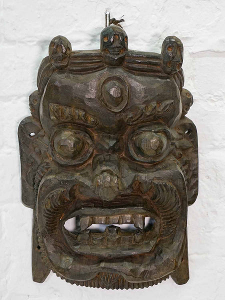 Carved Wooden Protector Mask from Bhutan
