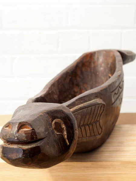 Carved Long Wooden Fish Bowl