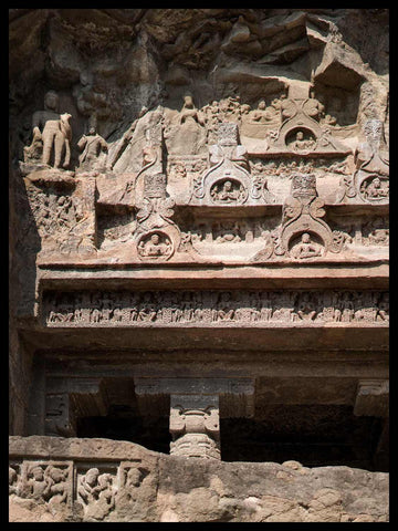 Carved Figures, Entrance to Cave 8, Ellora Caves, India