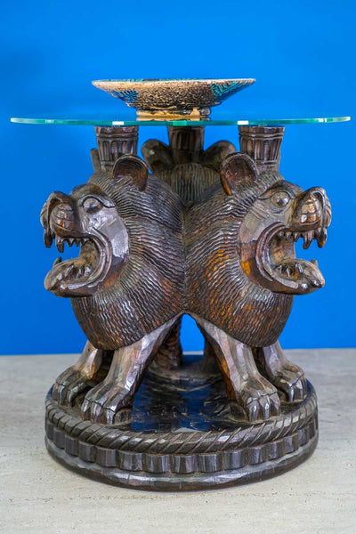Circular Carved Wooden Table with Three Lions & Afghan Bowl