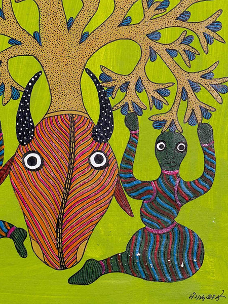 Colourful Gond Painting of Women and a Tree