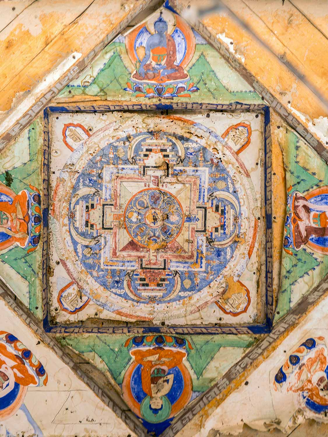 Mandala painting in a stupa at Skurbuchan, Ladakh, detail