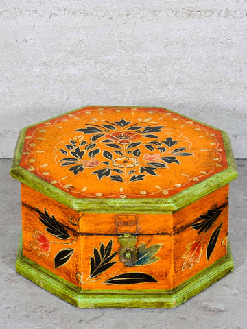 Painted Octagonal Wooden Indian Box