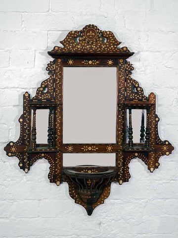 Finely Inlaid Indian Wooden Mirror with Shelves