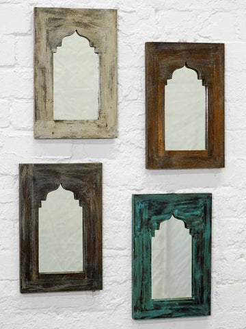 Small Painted Arched Indian Wooden Mirrors