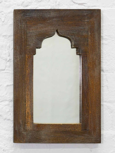 Small Painted Arched Indian Wooden Mirrors - Earth