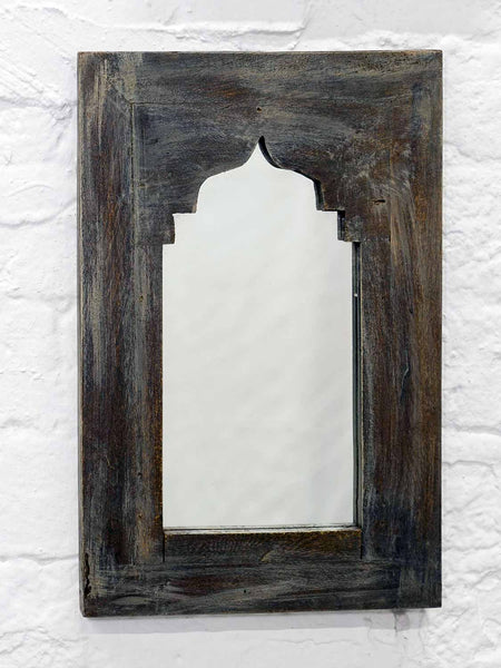 Small Painted Arched Indian Wooden Mirrors - Charcoal