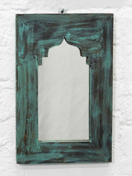 Small Painted Arched Indian Wooden Mirrors - Ocean
