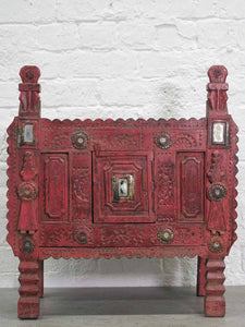 Carved and Painted Wooden Damchiya Dowry Chest