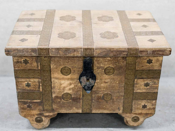 Decorated Indian Wooden Chest with Wheels