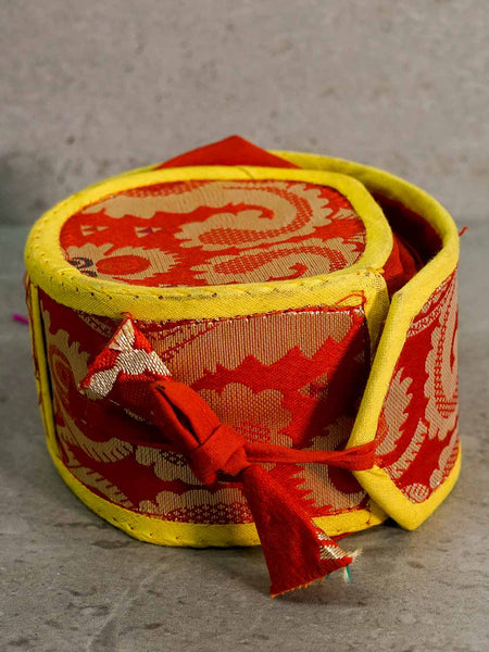 Tibetan Damaru Drum in Brocade Container