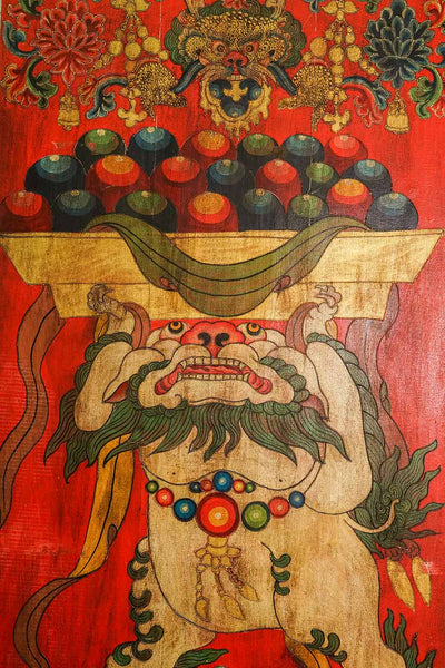 Vintage Tibetan Door with Painted Snow Lion Design