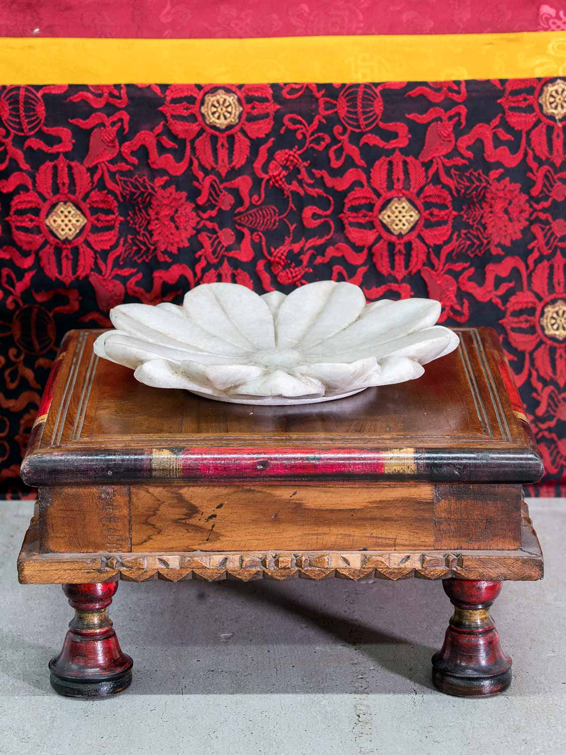 Carved Low Table with Dark Red Lacquer and Turned Legs