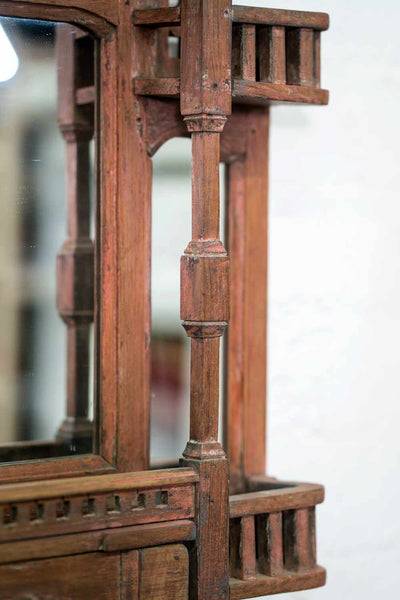 Indian Wooden Mirror with Five Jharokha Balconies detail 3