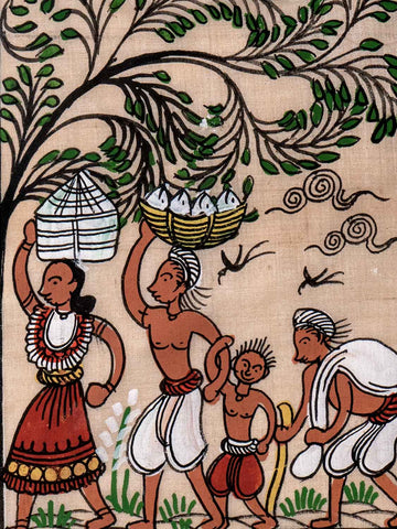 Small Indian Phad Painting of Villagers