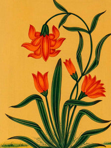 Indian Miniature Painting, Red Flowers, Green Leaves detail