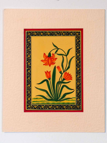 Indian Miniature Painting, Red Flowers, Green Leaves