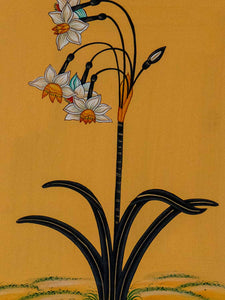 Indian Miniature Painting of Daffodils detail