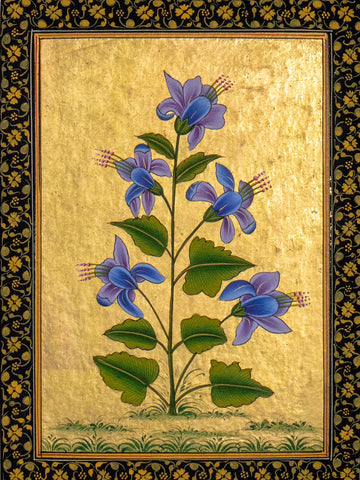 Indian Miniature Painting, Blue Flowers & Gold Leaf detail
