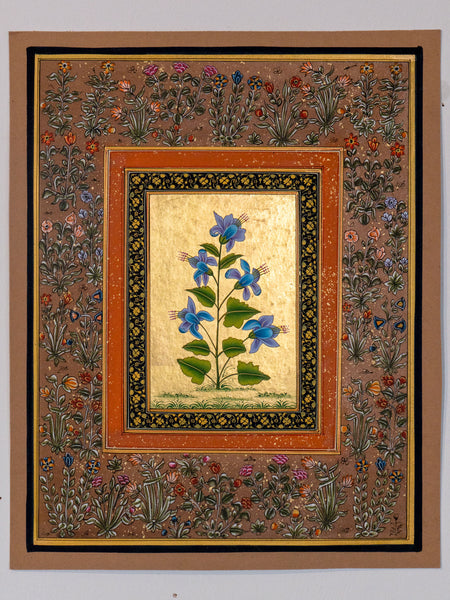 Indian Miniature Painting, Blue Flowers & Gold Leaf