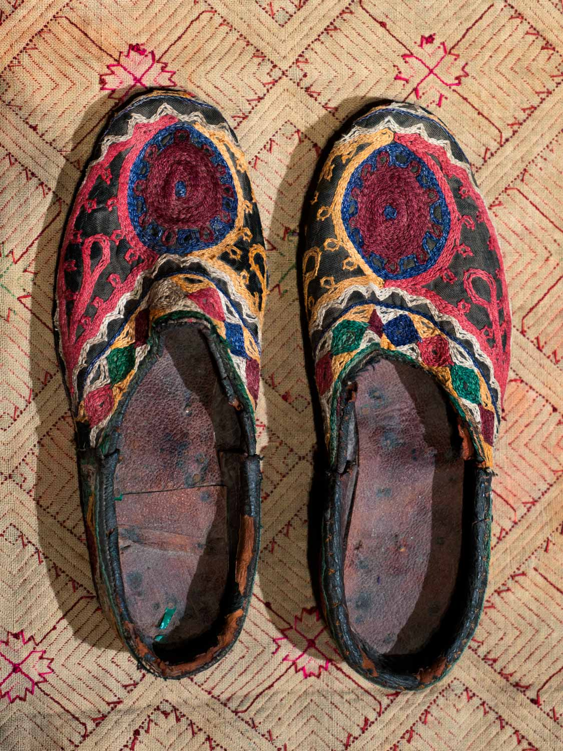 Vintage Embroidered Shoes from Afghanistan, Maroon Sun