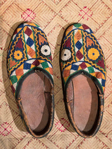 Vintage Embroidered Shoes from Afghanistan with Geometric Embroidery