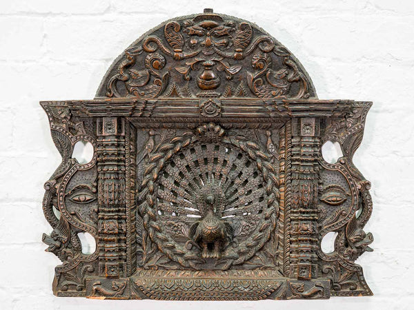 Finely Carved Peacock Wall Panel, India
