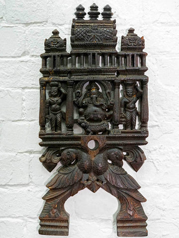 Finely Carved Vintage Ganesh Kadavi, Black Wood