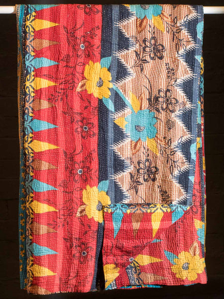 Gold Flowers on Red Reversible Vintage Kantha Quilt