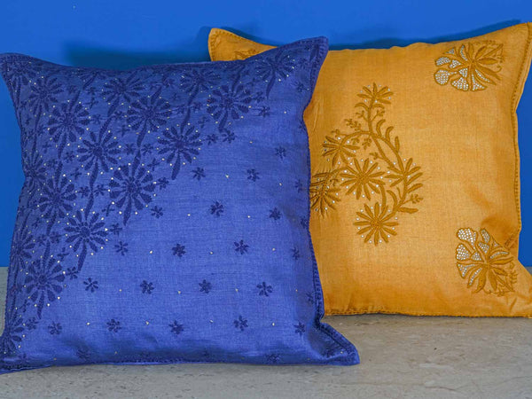 Gold and Navy Silk Embroidered Cushion Covers