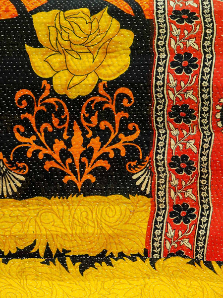 Golden Flowers | Vintage Kantha Quilt detail