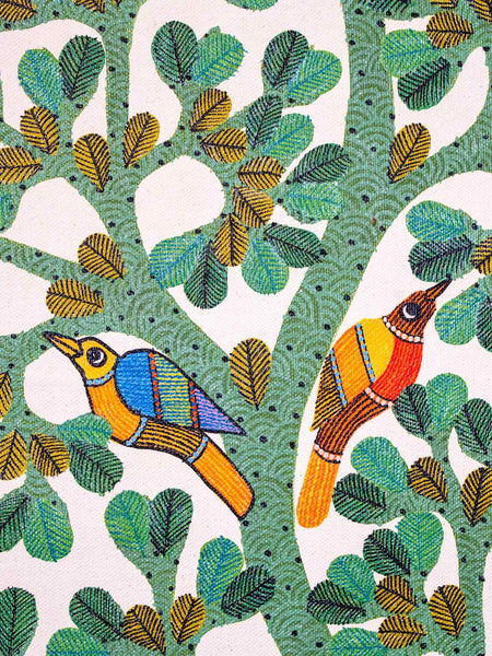 Large Gond Painting of Birds and a Tree detail