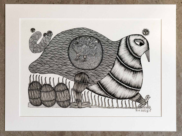 Gond Drawing of a Walking Bird