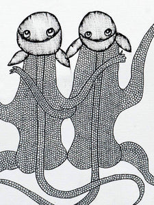Gond Drawing of Two Monkeys and Clouds