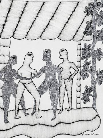 Gond Drawing of Villagers Meeting under a Canopy