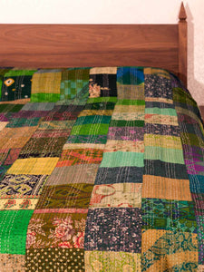 Green Silk Patchwork Indian Kantha Bedspread