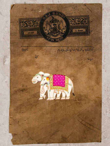 Indian Miniature Painting, Two Elephants