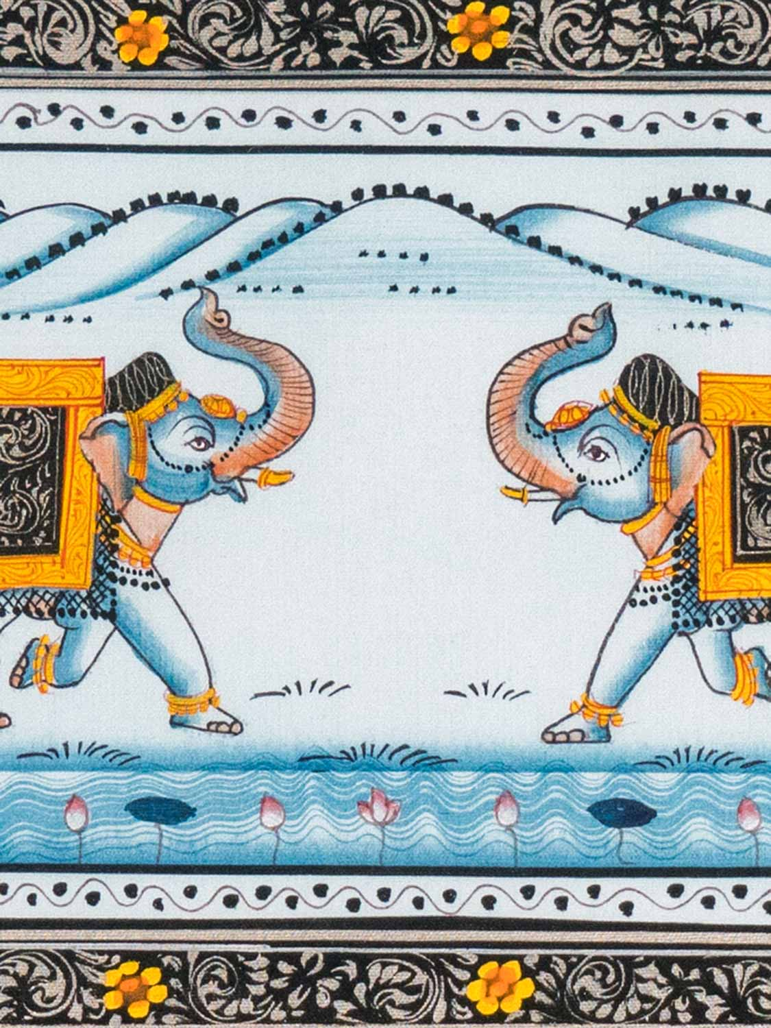Indian Miniature Painting of Elephants, Horses & Camels