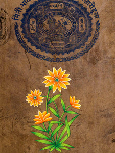 Indian Miniature Painting of Golden Apricot Flowers
