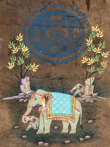 Indian Miniature Painting of Three Elephants