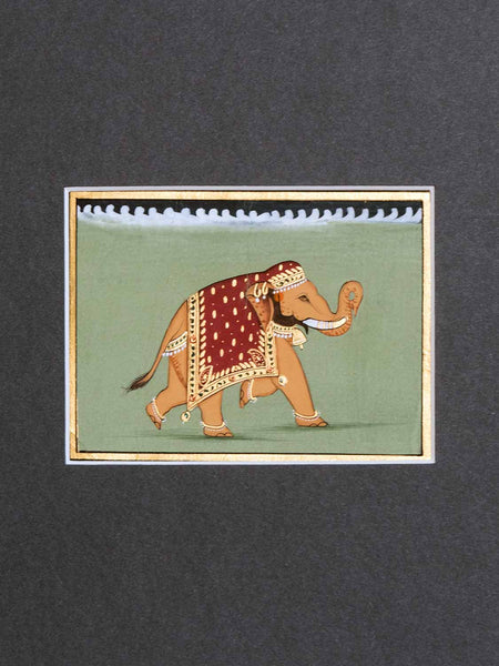 Indian Miniature Painting of a Sandy Elephant detail