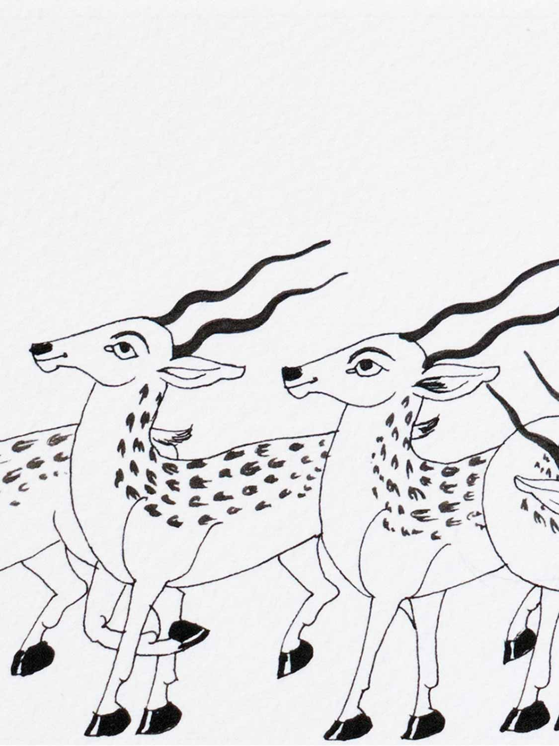 Indian Phad Drawing of Six Antelopes  detail