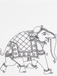 Indian Phad Drawing of an Elephant, Horse & Camel detail